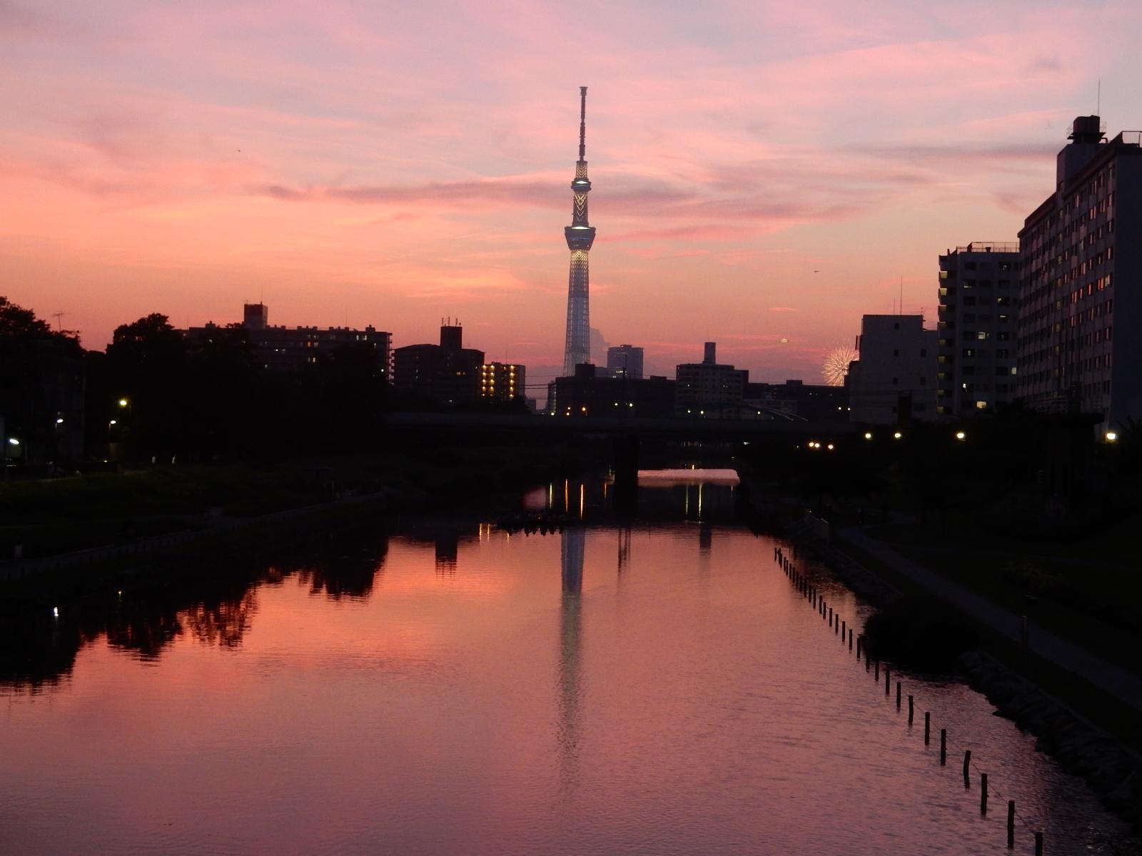 夕焼けの中の東京スカイツリー