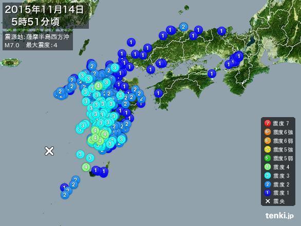 地震情報 2015年11月14日 5時51分頃発生 最大震度:4 震源地:薩摩半島西方沖(枕崎の西南西160km付近)