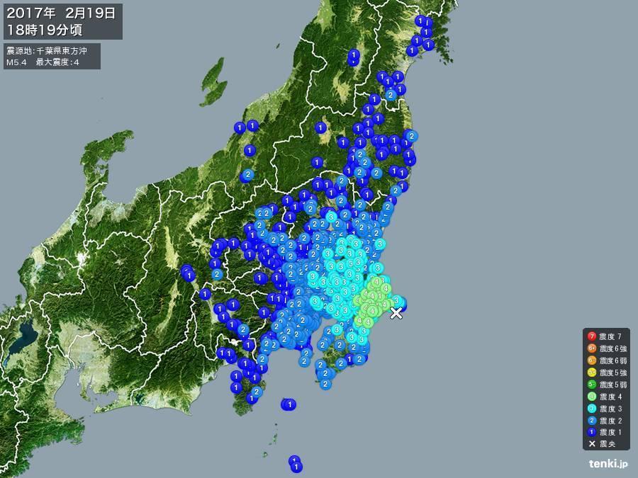地震情報 2017年2月19日 18時19分頃発生 最大震度:4 震源地:千葉県東方沖