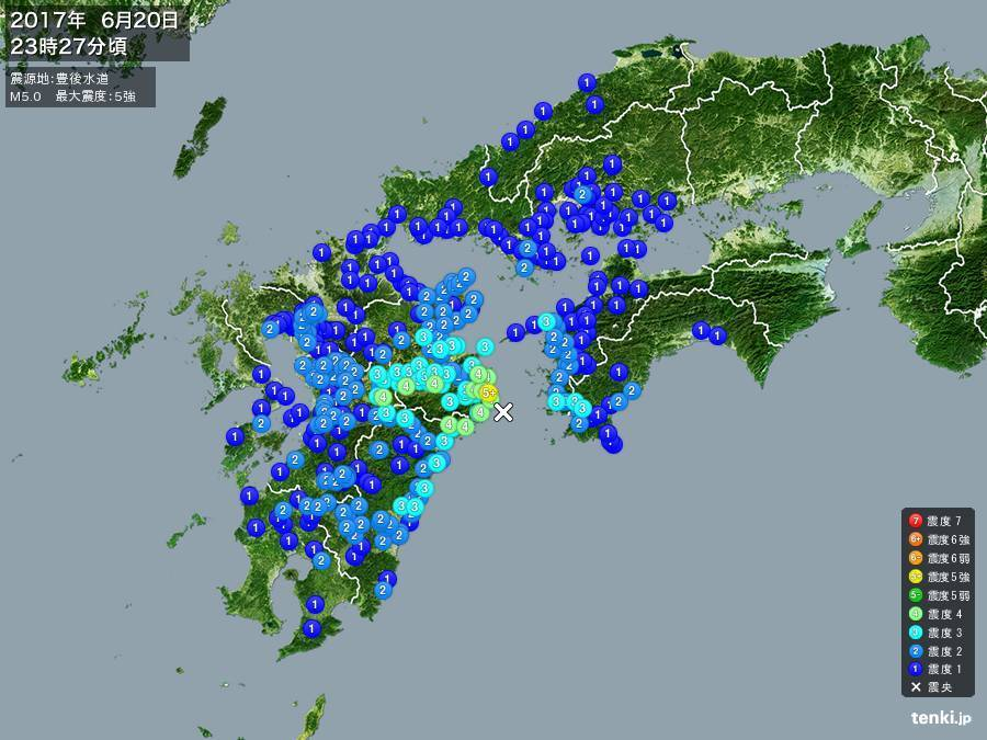 地震情報 2017年6月20日 23時27分頃発生 最大震度:5強 震源地:豊後水道