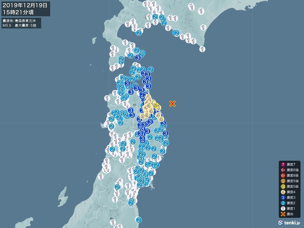 地震情報 2019年12月19日 15時21分頃発生 最大震度:5弱 震源地:青森県東方沖