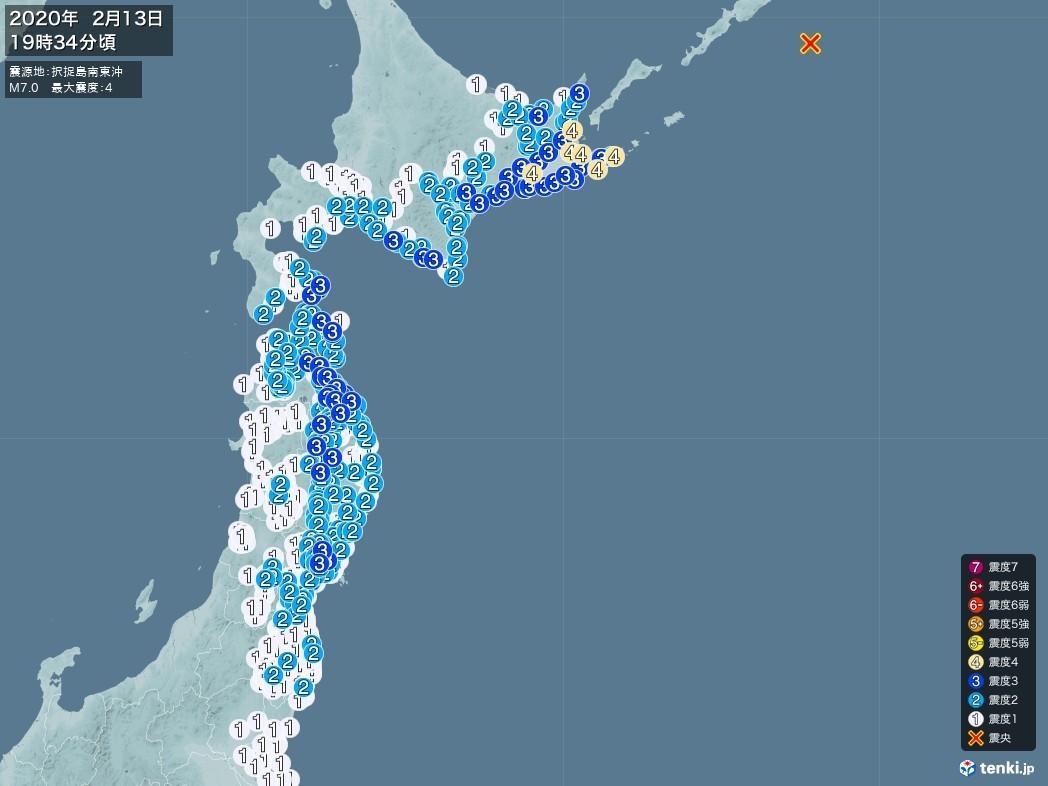 地震情報 2020年02月13日 19時34分頃発生 最大震度:4 震源地:択捉島南東沖