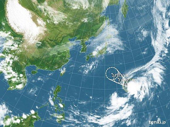 台風17号予想進路図(24日午後9時発表)