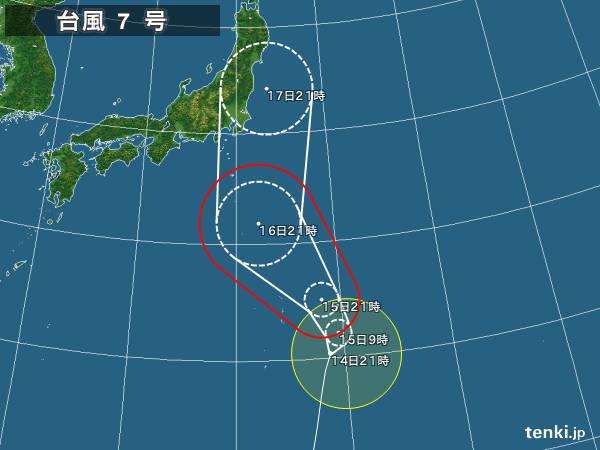 台風情報・日本広域(2016年08月14日21時現在)